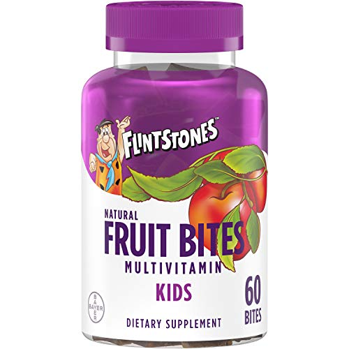 Flintstones Kids Natural Fruit Bites Multivitamin with Immune Health Support*, 60 Count (1 month supply), Gluten Free Vitamins for Kids with Vitamin A, Vitamin D, Vitamin B6, B12, Biotin & more