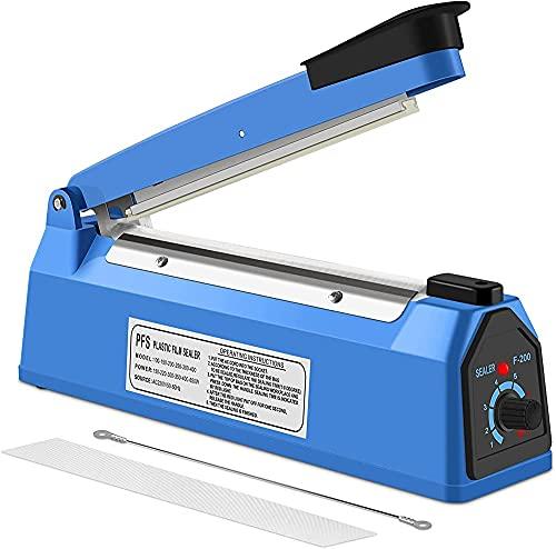 Sellador térmico al vacío, sellador de impulsos Máquina de embalaje de bolsas de sellador de alimentos al vacío para PP y PE sellador de bolsas de plástico (200 mm)