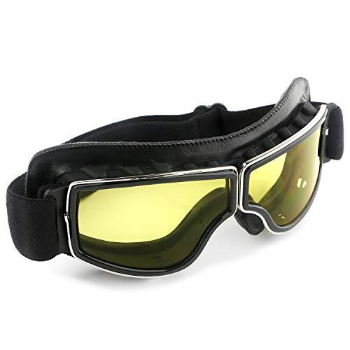 Gafas de motocicleta vintage anti niebla piloto de piel sintética a prueba de polvo ATV Off Road casco de moto gafas proteger para Ridding Motorcross clases Aviator Goggles (amarillo)