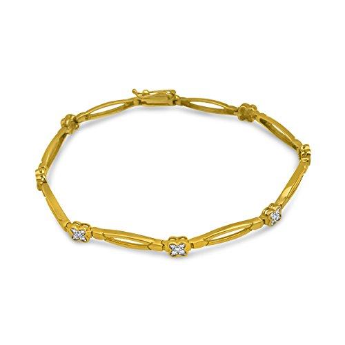 ARMBAND Gold 375 585 750 Massiv Gelbgold DAMEN Goldarmband Zirkonia Armreif 19 cm (9 Karat (375) Gelbgold)