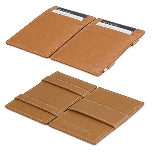 Garzini Magic Wallet, RFID Geldbeutel für Herren aus echtem Leder für 10 Karten, Mini Geldboerse als Geschenk für Männer, Cognac Brown