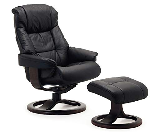 Fjords Loen Small Ergonomic Recliner Chair with Ottoman in Black NL 101 Nordic Line Leather with a Cherry Wood Stain Base