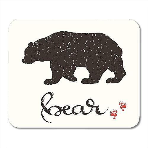 Mousepad Silhouette Des Bären Inschrift Tier Abzeichen Biologie Pinsel Emblem Mauspad 25X30Cm