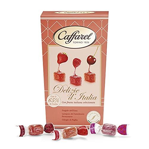 Caffarel Delizie d'Italia Gelatine Caramelle gommose con il 65% di frutta Italiana assortite 3 gusti frutti rossi, in scatola 200g