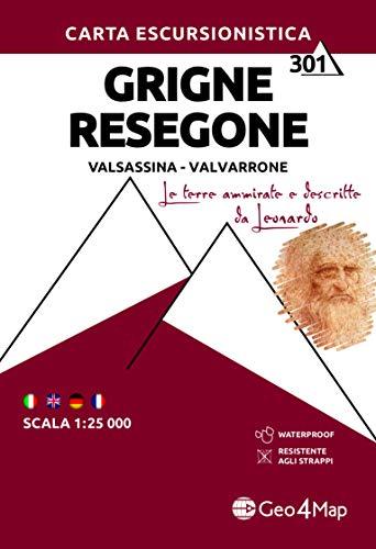 Carta escursionistica gruppo delle Grigne. Val Sassina-Monte Resegone. Scala 1:25.000. Ediz. italiana, inglese, tedesca e francese