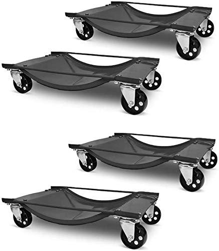 Aufun 2 Stück /4 Stück Rangierhilfe für PKW Auto Rangierhilfen Rangierwagenheber Rangierheber Rangierroller Wagenheber Roller max. 450KG pro Auto Prüfschlittens (4 Stück)