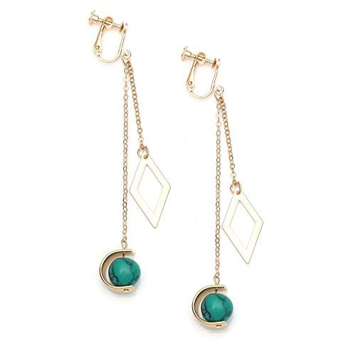Idin Jewellery - Pendientes de clip con forma de diamante y perlas de color turquesa