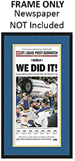 St. Louis Post-Dispatch Newspaper Frame - with St. Louis Blues Colors Double Mat