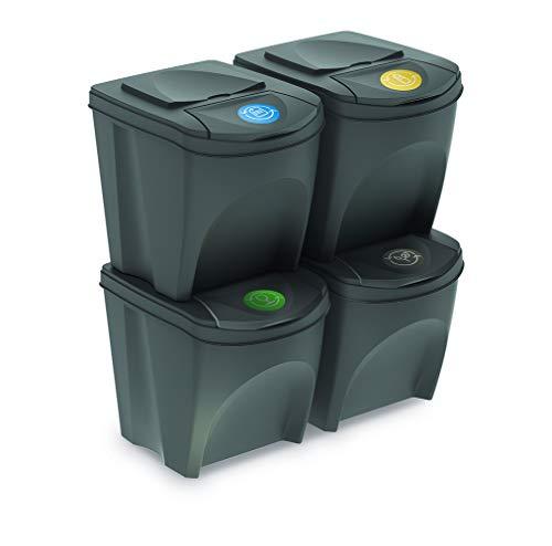 Mülltonne Sorti Box Sortibox Mülleimer Mülltrennsystem Abfall Segregation Müllsäcke Abfallbehälter Recycling Müllsortierer (4 x 25 L, Grauer Stein)