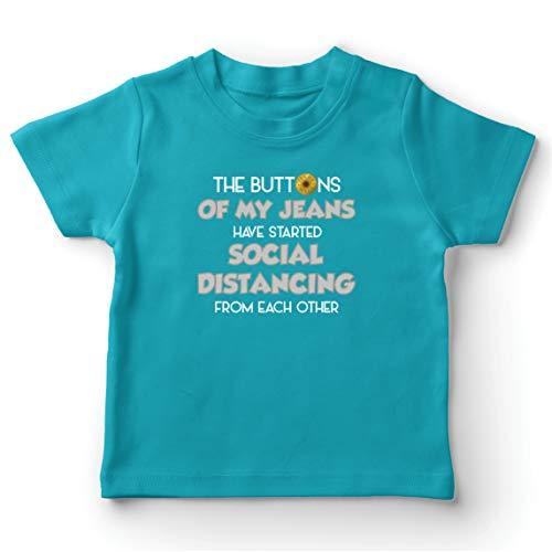 lepni.me Camiseta para Niño/Niña Los Botones de Mis Jeans han Momenzado a Distancia Social Regalo de Humor (12-13 Years Azul Claro Multicolor)