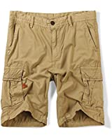 Men's Cotton Twill Army Cargo Multi-Pocket Shorts Lightweight Outdoor Wear Yellow Tag 32-US 30