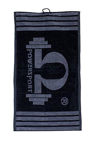 Power Sport Omegapowersport - Toalla para gimnasio en negro/gris, 35 x 70 cm, toalla para el sudor de algodón de rizo para fitness, toalla de gimnasio para hombre, pequeña