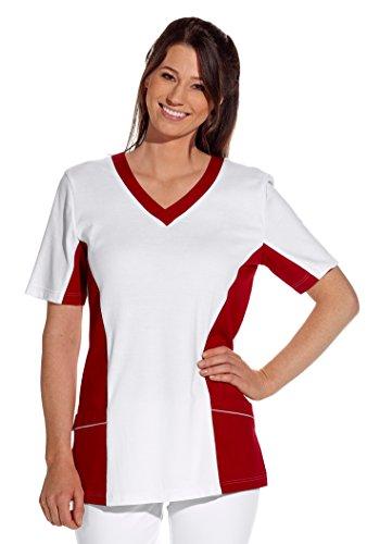 clinicfashion 12614041-1 Schlupfhemd weiß/rot für Damen, Mischgewebe, Größe L