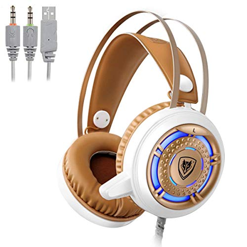 NUBWO Gaming Headset USB 3.5mm with Microphone Computer Gamer Headphones for PC Games Noise Cancelling Over Ear Comfortable Protein Earpads & Cool LED Light (White) 1