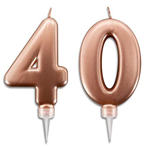 Candeline 40 Anni Rosa Gold per Torta Festa Compleanno   Decorazioni Candele Auguri Anniversario Torta 40   Altezza 10 CM