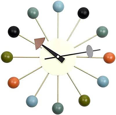 Tiandihe Wood Ball Wall Clock Silent Battery Operated Non Ticking 13 inches Pop Color Quartz Clocks Decorative Living Room