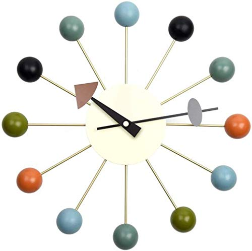 Tiandihe Wood Ball Wall Clock Silent Battery Operated Non Ticking 13 inches Pop Color Quartz Clocks Decorative Living…