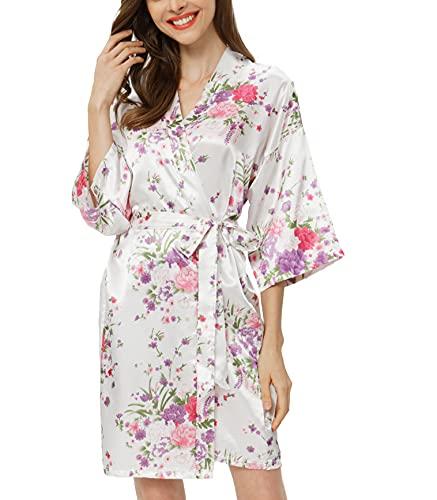 Women's Floral Satin Kimono Robe Short Bridesmaid Dressing Gown Silky...