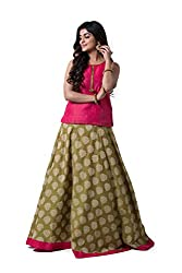 Maybell Chanderi Pista Green Brocade Skirt Set