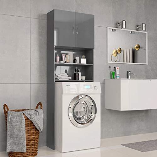 UnfadeMemory Waschmaschinenschrank Hochschrank Spanplatte Badregal Badezimmerschrank mit 2 Türen und 2 Offenen Fächern Ausreichend Stauraum 64 x 25,5 x 190 cm (Hochglanz-Grau)
