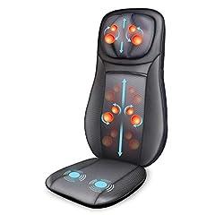 Snailax massage säte pad Shiatsu massage pad för rygg, axel massageapparat med värmefunktion, vibrationsmassage matta, presenter till damer, män, pappa mamma 3 massage zoner SL233DE