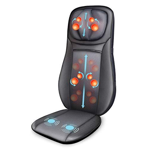 SNAILAX Silla de masaje Cojín de masaje de espalda Shiatsu con función de calor - Asiento de masaje para masaje de cuello y espalda para la oficina en el hogar SL233-ES