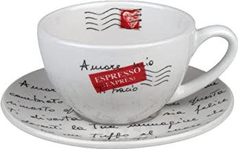 Konitz Coffee Bar Amore Mio No.4 Cappuccino Cups/Saucers, Set of 4