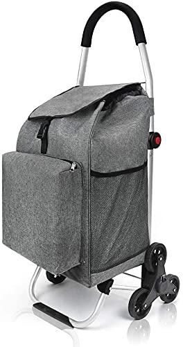 Zaitime Carrito de la compra plegable, bolsa de carga de 50 l, super50 kg, con cordón elástico adicional, marco de aluminio que ilumina el trabajo para escaleras, 6 ruedas, color gris