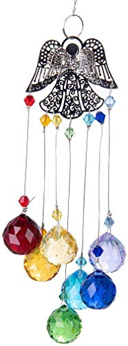 HampD Crystal Glass Suncatcher Chakra Colors Ball Prism Angel Window Hanging Ornament Rainbow Suncatcher