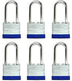 """Laminated keyed Padlock (1-9/16"""" , 40mm), keyed Alike Locks, Long Shackle, Pack of 6"""