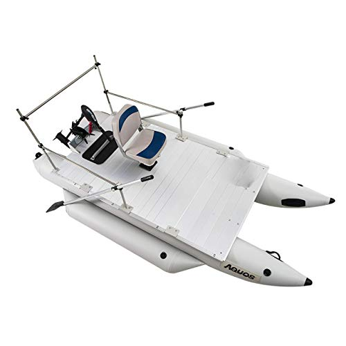AQUOS 2021 New Heavy-Duty for Two 12.5ft Inflatable Pontoon Boat with Folding...