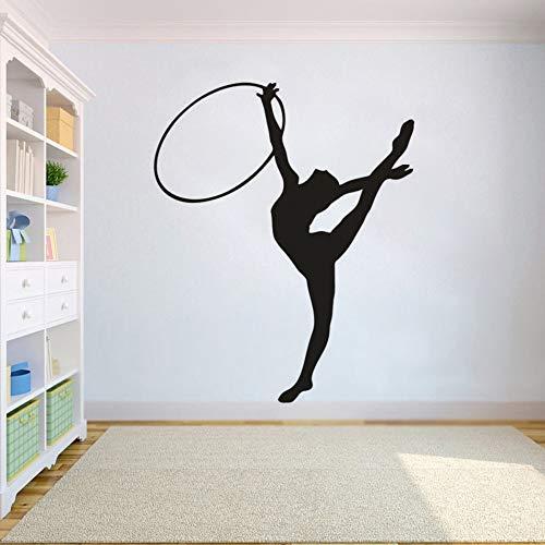 Adhesivo decorativo para pared de gimnasia, gimnasia, gimnasio, estudio, póster extraíble, para deportes, niña, A7, 42 x 52 cm