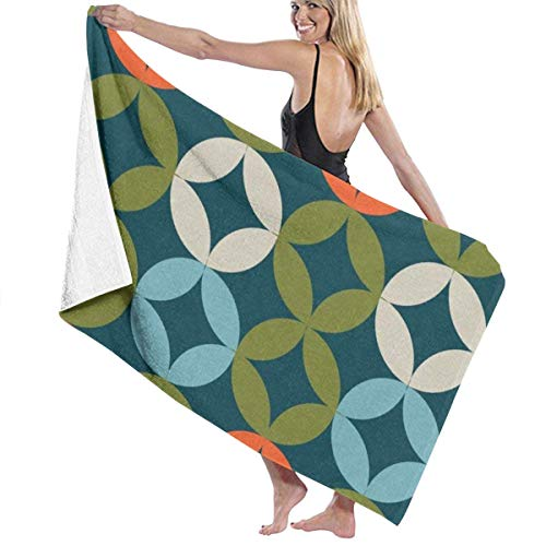 shenguang Toalla de baño Beach Towel with Mid Century Circle Modern Print, Lightweight Towel, Large Super Soft Ultra Absorbent Surf Towels Bath Towel