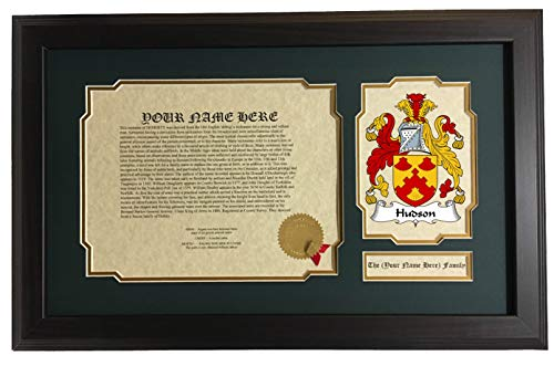 Hudson - Coat of Arms and Last Name History, 14x22 Inches Matted and Framed