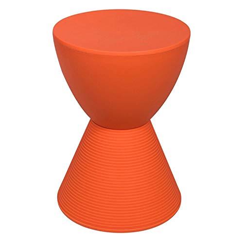 Stool Petit Banc en Plastique Rond avec Rangement, Utilisation intérieure et extérieure du Tableau de Bord de Table d'appoint d'appoint Moderne Multifonctionnel, boîte de Rangement (Couleur : Orange)
