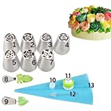 13pcs/Set Cake Decorating Equipment Icing Decoration Kit Russian Piping Nozzles + Silicone Pastry Bags Tool Piping Cream Stainless Steel Nozzles Decorator Pastry Cream Making Set for Dessert Cupcakes