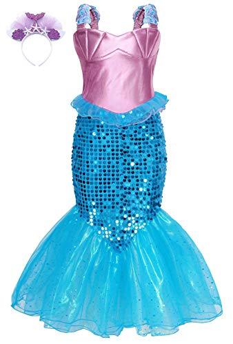 MetCuento Mermaid Dress Princess Costume for Girls Shell Starfish Headband Sequin Birthday Party Cosplay Halloween Outfits (with headband,3-4 Years)