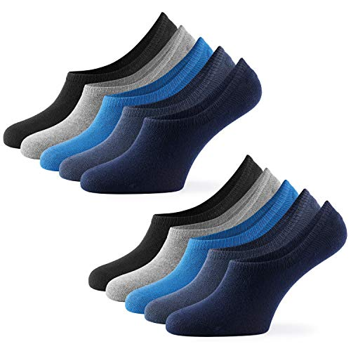 Mat & Vic's Unsichtbare Sneaker Socken Herren & Damen 10 Paar Großes Premium Silikonpad gegen Verrutschen (Jeans Colors, 39-42)