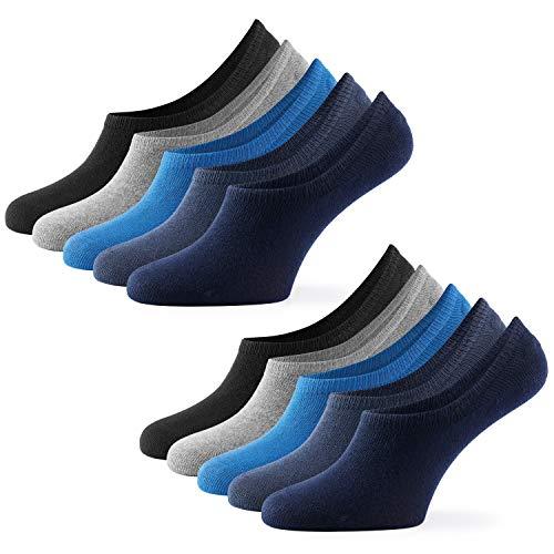 Mat & Vic's Unsichtbare Socken Herren & Damen 10 Paar Großes Premium Silikonpad gegen Verrutschen (Jeans Colors, 39-42)