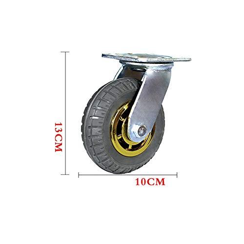 Universele wiel, Kleine kar Rubber wiel, Heavy Duty kar Caster, Stille wiel met rem Φ10cm(Quantity:4) B
