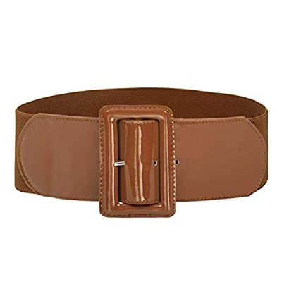 Ladies High Stretchy Waist Wide Patent Fashion Plain Leather Belt Brown L