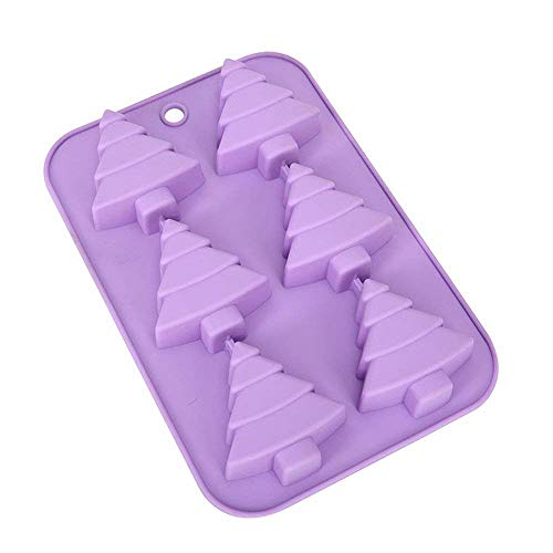 ESA Supplies 6 Cavity Christmas Tree Silicone Molds for Soap Muffin Cups Jello Chocolate Biscuit Baking Clay Soap molds Cake Moulds for Christmas Holiday