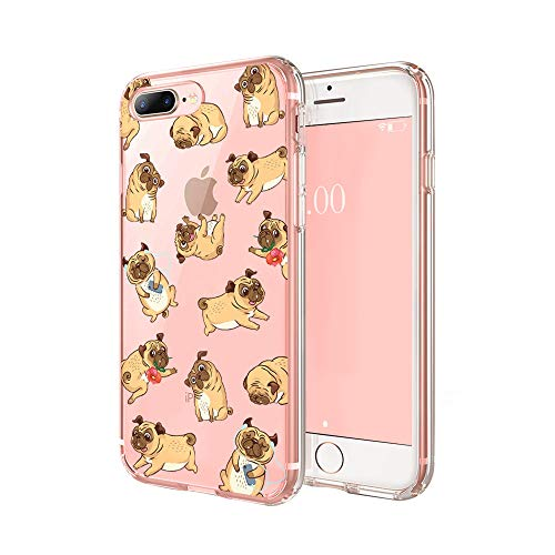 Cocomong Puppy Dog Phone Case Compatible with iPhone 7 Plus Case Dog iPhone 8 Plus Case for Women Girls Men, Cute Pug Dog Lover Gifts for Women Men, Clear Soft TPU Cover Slim Flexible Protective 5.5'