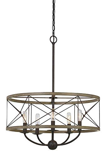 Cal Lighting FX-3685-5 40W X 5 Modica Metal Pendant Fixture (Edison Bulbs Not Included), Distress Ivory/Iron