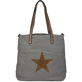 styleBREAKER Sac Shopper en Toile Sac à Main avec Badge tissé Motif étoile, Sac Besace, bandoulière, Femmes 02012048…