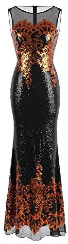 Angel-fashions - Vestito da donna con paillettes floreale - nero - XX-Large