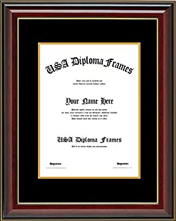 Cherry Glossy with Gold Trim Diploma Frame with Black Suede Matting (Used for 8.5x11 Vertical documents or certificates)