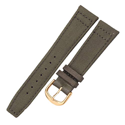 DFKai1run Correa de Nailon, Banda de Reloj de Nylon de Lona de Correa 20 mm 21 mm 22 mm Negro Green High Qualiyt Watch Band Pulsera con Hebilla Pin Estilo clásico (Color : Grey, Size : 20mm)