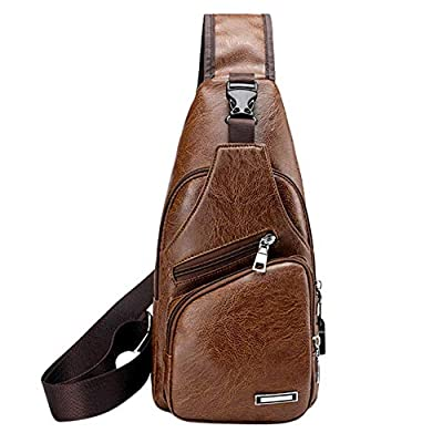 Men Leather Waist Bag Crossbody Shoulder Messenger Zips Outdoors Workout Traveling Casual Cycling Running Hiking Pack