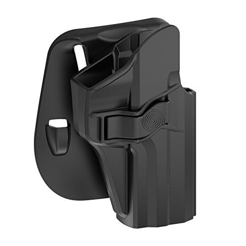 TEGE H&K USP 9mm/40 Full Size Holster, OWB Polymer Paddle Holster for Heckler & Koch USP 9 mm .40, Right Hand, Black Finish